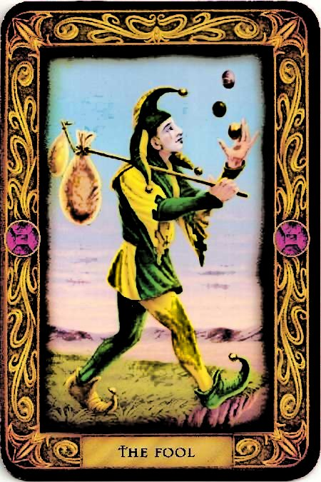 An image of The Fool tarot card; a brightly dressed man with a stick and bag over one shoulder looks as if hes about to step off a cliff.