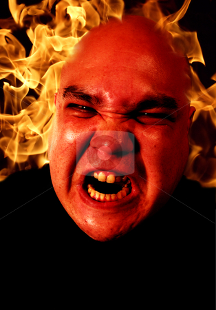Angry man with flames
